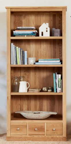 Mobel Oak Large Bookcase with Drawers